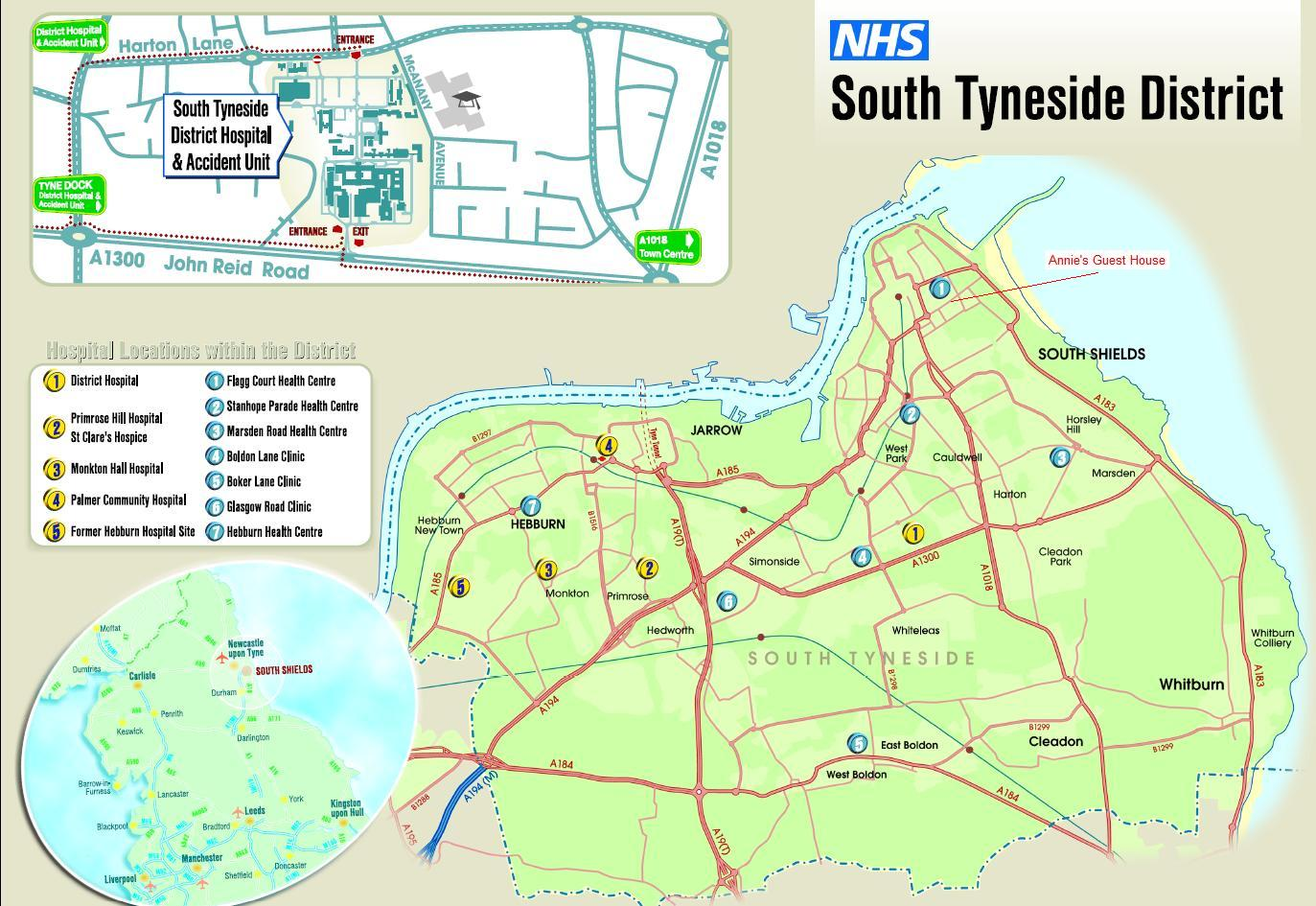 Map Showing Our Accommodation and South Tyneside Hospital Sites