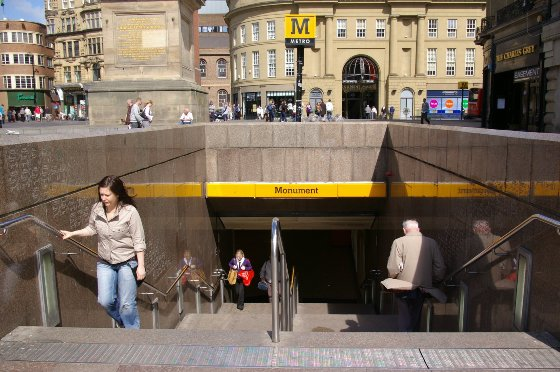 Monument Metro Station Grey Street Exit Newcastle upon Tyne NE1